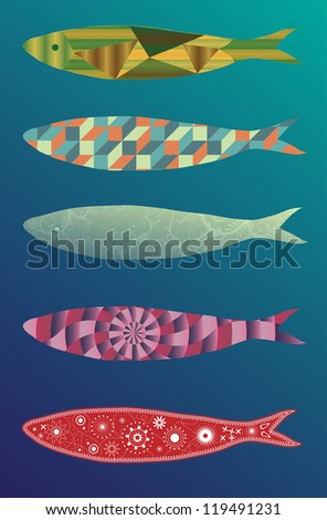 A set of ornamented and beautiful illustration (vector) of sardines - stock vector