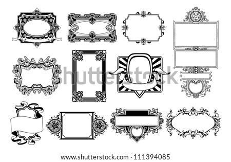 A set of ornate frame and border design elements - stock vector