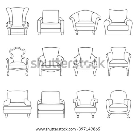 A set of outline chair isolated on white background. Armchair icon design. Vector illustration. - stock vector