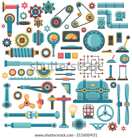 A set of parts of machinery. Gears, pipes, fittings, flanges, levers, propellers, housings, brackets, buttons, switches, knobs, lamps and other. - stock vector