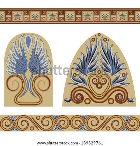 A set of patterns and ornaments in the Greek style. Vector illustration. - stock vector