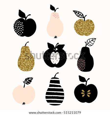 A set of pears and apples in gold glitter, pastel pink and black isolated on white background. Modern and stylish greeting card, wall art, poster design.