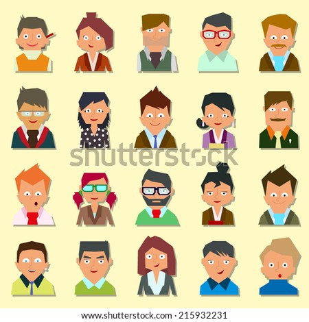 A set of people icons. People icons. People Flat icons collection. vector. - stock vector