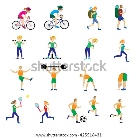 A set of people with different kinds of sports. Isolated men and women in various poses for design and web sites. The modern concept of the athletes. Vector illustrations - stock vector