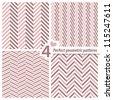 A set of 4 perfect seamless Zig zag patterns. - stock vector