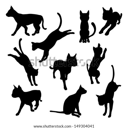 A set of pet cat silhouettes including the cat playing, jumping and walking - stock vector