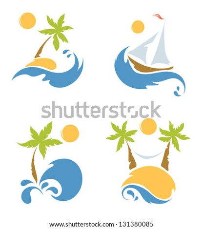 A set of pictures - the sea and the beach - stock vector
