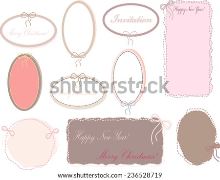 A set of pink colored pastel oval frames stitched with thread and a bow for greetings on Christmas or new year - stock vector