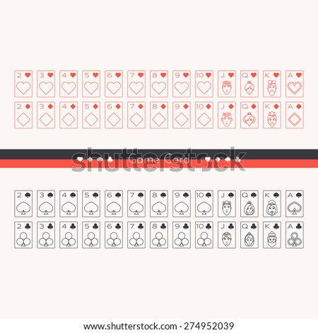 A set of playing cards drawn outline two colors on a white background