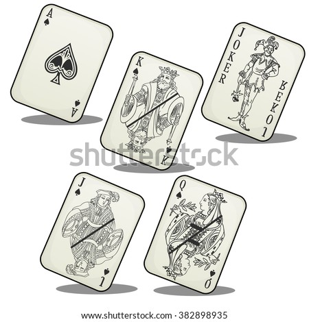 A set of playing cards. Gambling. The vector image. - stock vector