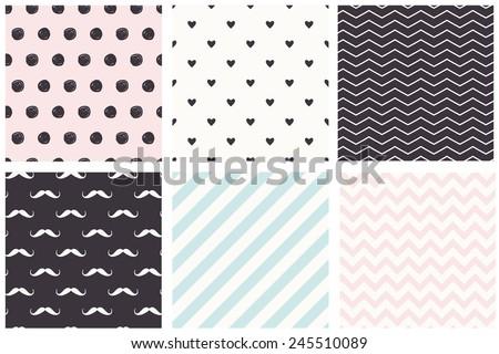 A set of 6 Polka Dot, chevron, stripe, moustache seamless patterns. Pastel trendy style. - stock vector