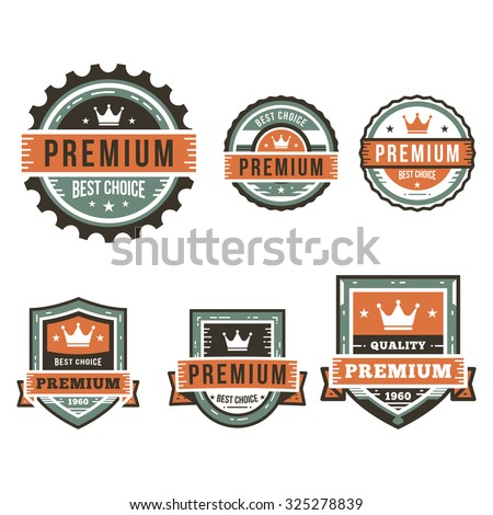 A set of Premium Quality Labels with retro vintage styled design - stock vector