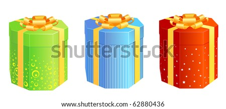 A set of present boxes in different colors - stock vector