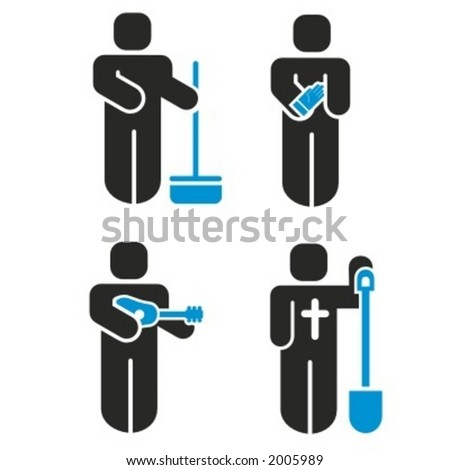 A set of 4 profession icons series. Check my portfolio for much more of this series. - stock vector