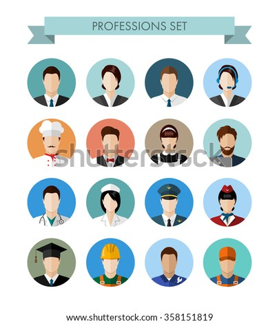 A set of professions people. Circle flat style icons. Occupation avatar. Business, medical, web, call center operator, workers. Vector illustration - stock vector