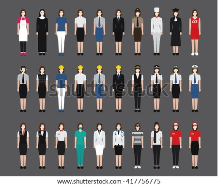 A set of professions people. Circle flat style icons. Occupation avatar. Business, medical, web, call center operator, workers. Fullbody. Vector illustration - stock vector