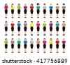 A set of professions people. Female avatar. Fullbody. Vector illustration - stock vector