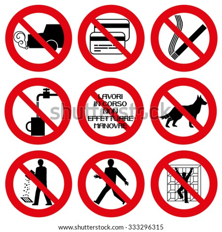 A set of prohibition signs Safety signs.Red circle prohibition sign. Stop flat symbol. Vector.