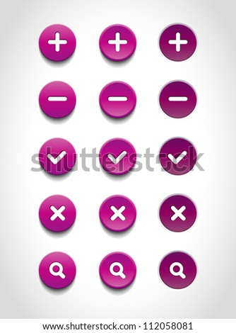 A set of purple vector round web buttons - stock vector
