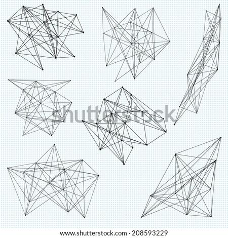 A set of random abstract vector geometric shapes - stock vector