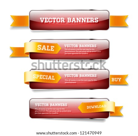A set of red vector glossy horizontal banners with golden satin ribbons
