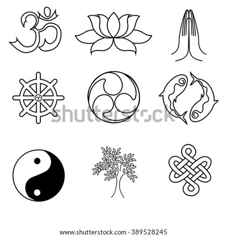 A set of religion symbols - Buddhism. Black silhouettes isolated on white background  - stock vector