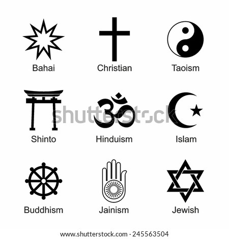 Set Religious Symbols Black Silhouettes Isolated Stock Vector