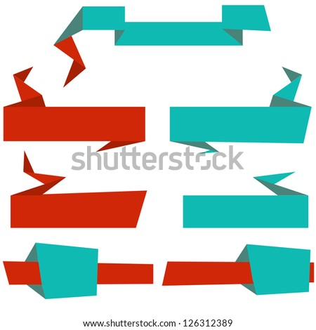 A set of retro looking angular page banners and headers - stock vector