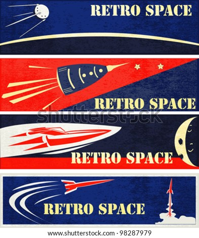 A set of Retro Space Web Banner Illustrations - stock vector