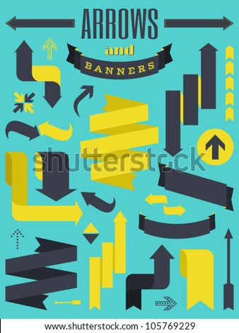 A set of retro style banners and arrows. - stock vector