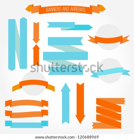 A set of retro style banners and arrows. Colorful arrow banner vintage retro style. Vector illustration - stock vector