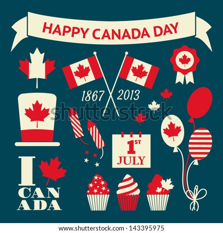 A set of retro style design elements for Canada Day. - stock vector