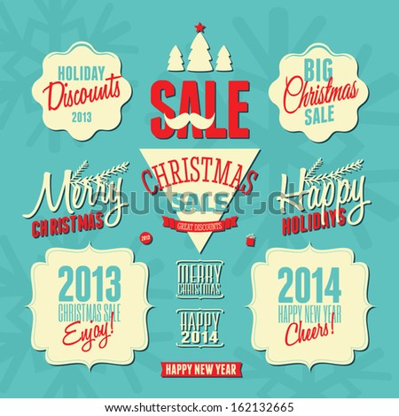 A set of retro style design elements for Christmas.  - stock vector