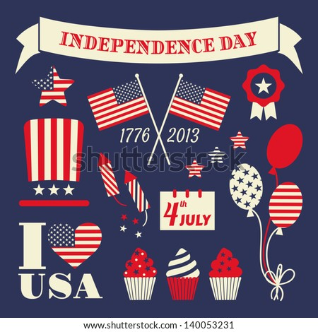 A set of retro style design elements for Independence Day in red, white and blue. - stock vector