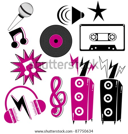 A set of retro style icons including mic, cassette, disc, speaker icon, music icon, speakers, headphone, splash signs
