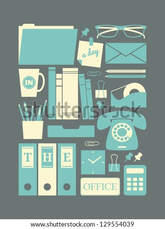 A set of retro style office icons in pastel colors. - stock vector