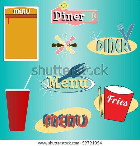 A set of retro themed diner graphics and menu elements - stock vector