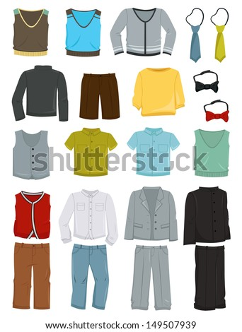 A set of school clothes for boys isolated on white background - stock vector