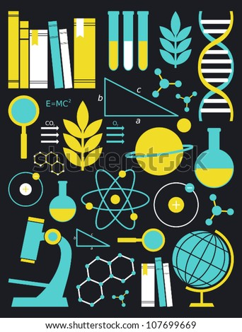 A set of science and education symbols in yellow and blue. - stock vector