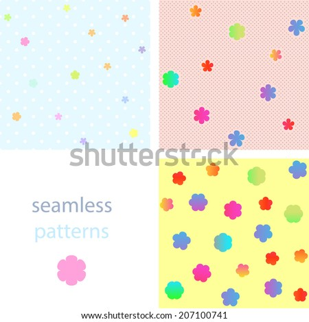 A set of seamless bright patterns with colorful flowers and dots on a dark background