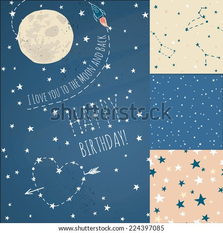 A set of Seamless constellations backgrounds, stars and night sky. Love you to the moon elements with a spaceship and a heart written in stars.  - stock vector