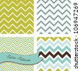 A set of seamless retro Zig zag patterns - stock vector