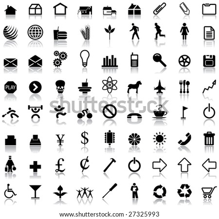 A set of seventy two vector icon symbols with reflections - stock vector