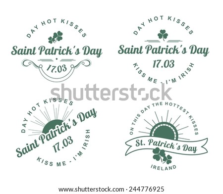 a set of several pieces Calligraphic Design Elements St. Patrick's Day - stock vector