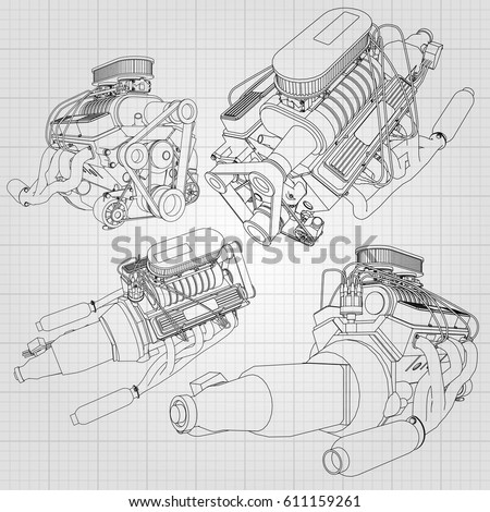 Set Several Types Powerful Car Engine Stock Vector (2018) 611159261 ...