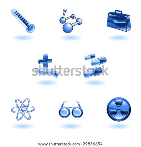 A set of shiny glossy medical icons - stock vector