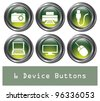 A set of 6 shiny green device buttons with metallic borders. - stock vector
