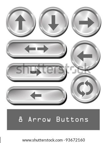 A set of 8 shiny metallic arrow buttons. - stock vector
