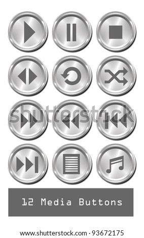 A set of 12 shiny metallic media buttons. - stock vector