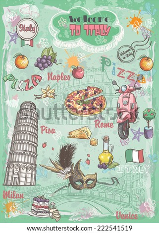 A set of sights in Italy, architecture, food, transportation, items - stock vector